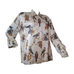 1980s Escada Silk Blouse w/ Gorgeous Falcon Print