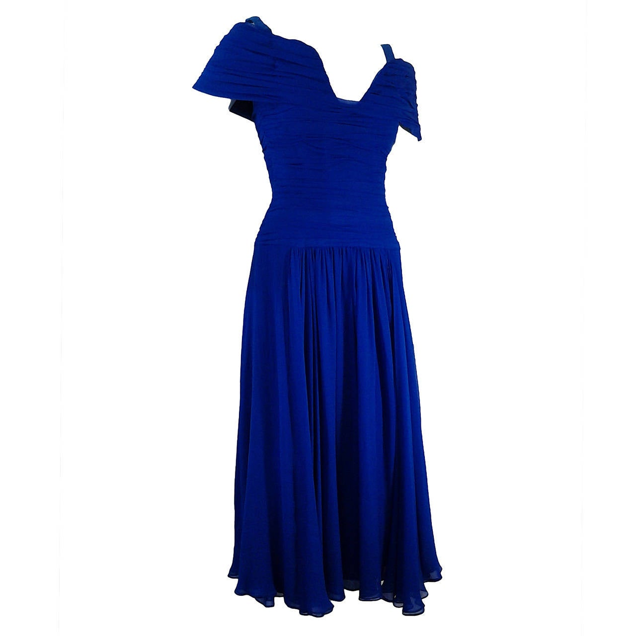 1980s Arnold Scaasi Cobalt Blue Silk Chiffon Gown w/ Gorgeous Décolletage