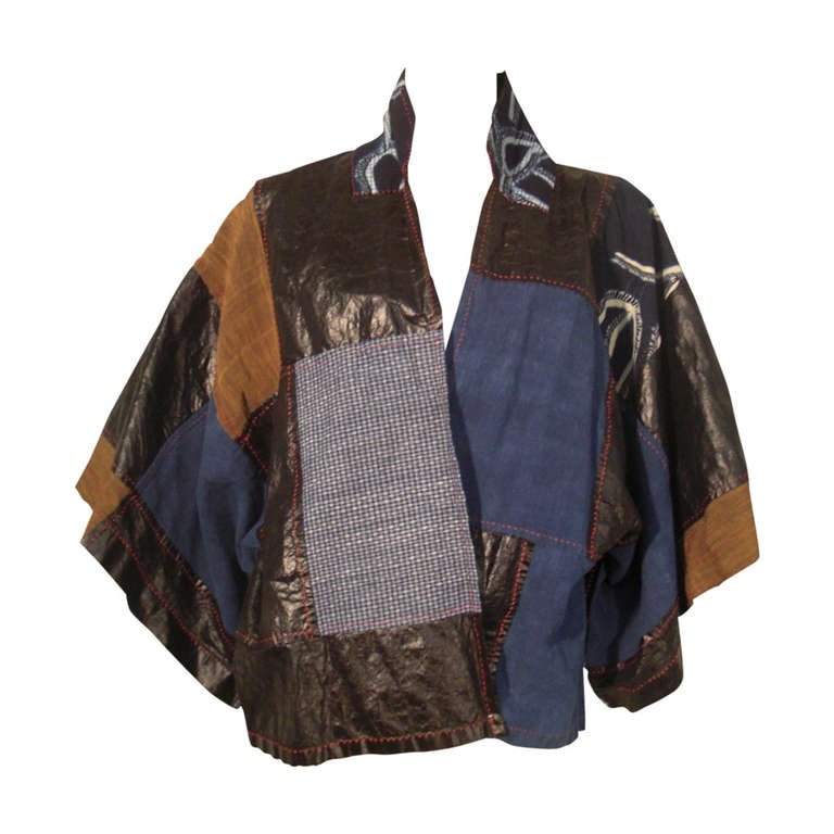 Japanese patchwork quot kimono quot jacket in oilcloth and cotton at 1stdibs