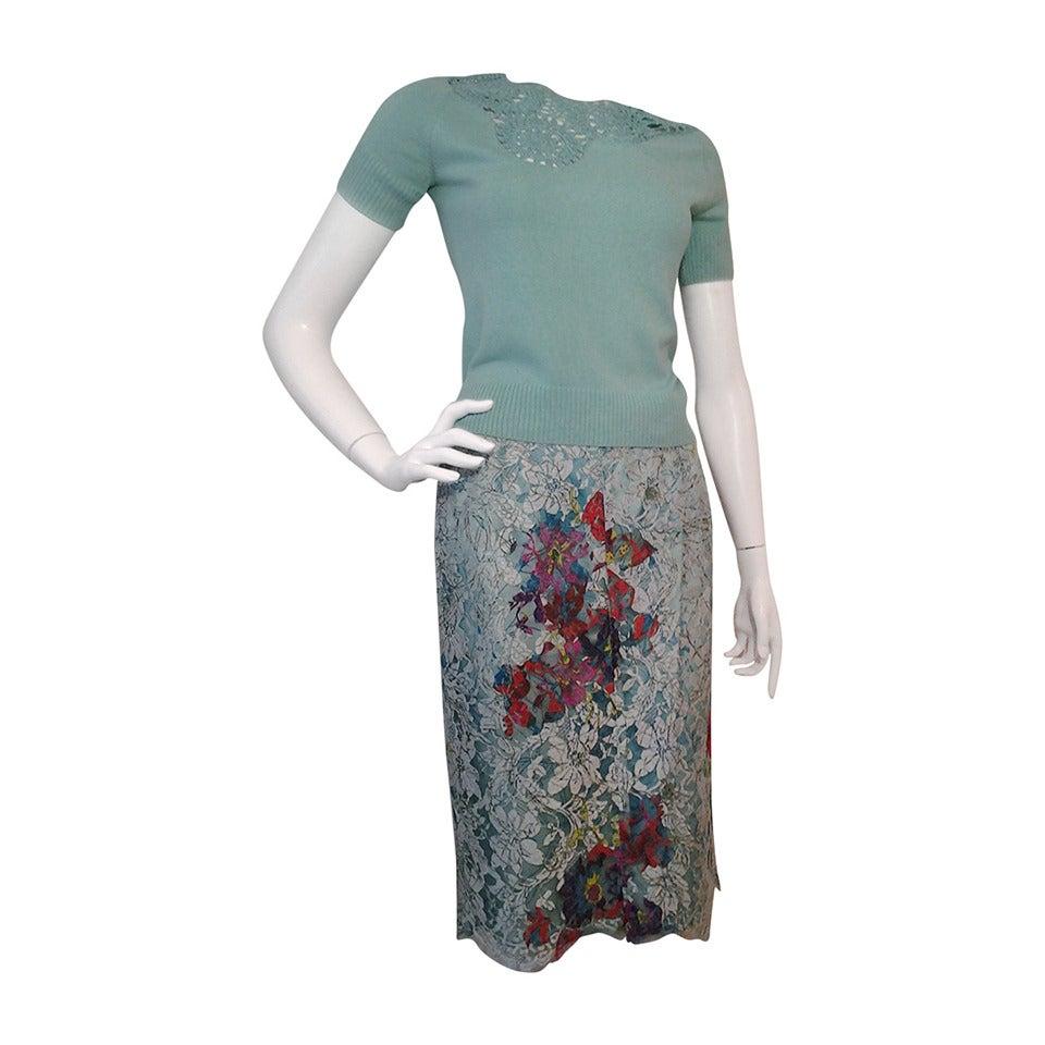 1990s Christian Lacroix Bazaar 2-Piece Sweater and Lace Skirt Ensemble