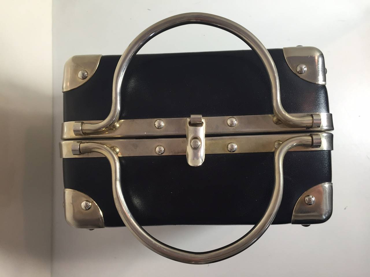 1960s Black Vinyl Suitcase Style Box Bag With Chrome