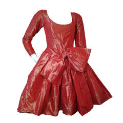 1980s Yves Saint Laurent - Rive Gauche Red Iridescent Pouf Dress