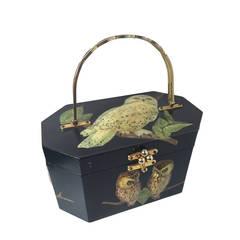 1960s Black Lacquered Wood Octagonal Box Bag w/ 3-D Owl Decoupage