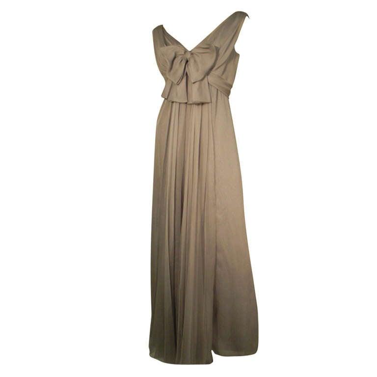 Sarmi 60s Dove Gray Silk Chiffon Goddess Gown 1