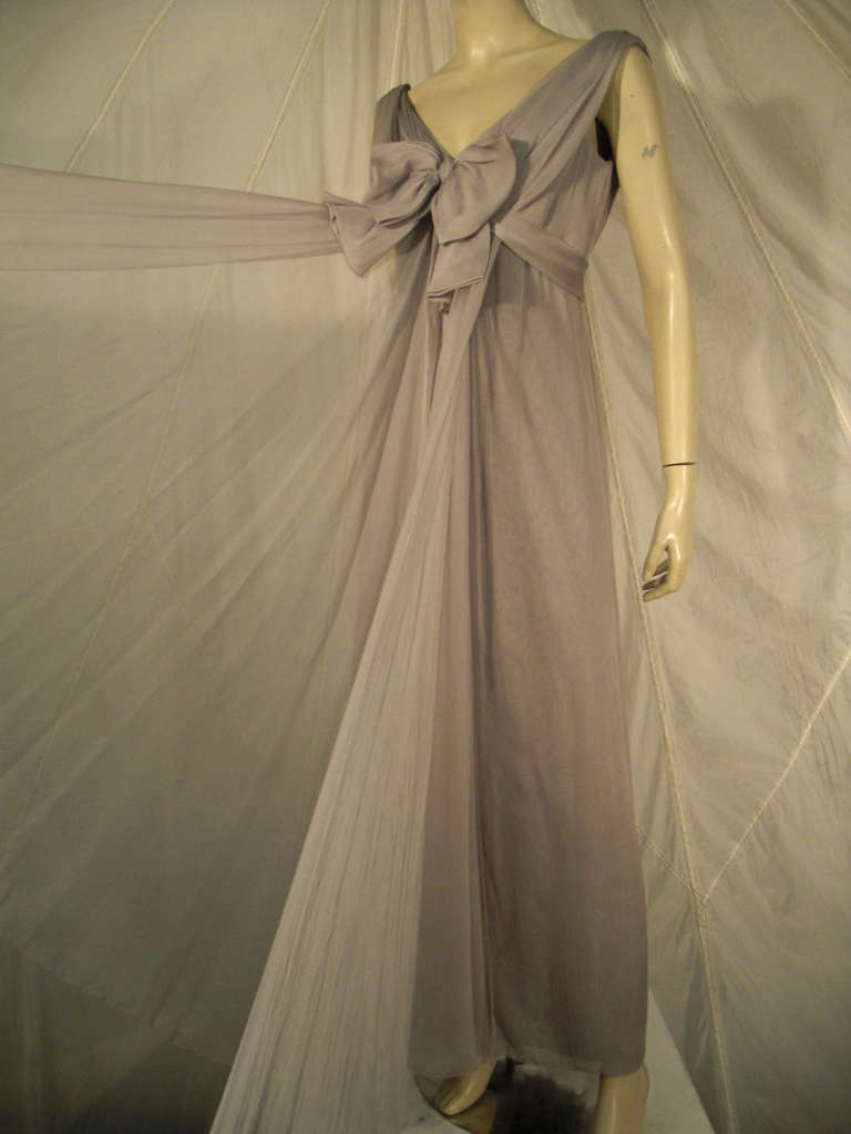 Sarmi 60s Dove Gray Silk Chiffon Goddess Gown 2