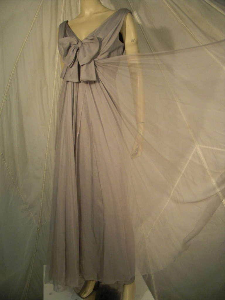 Sarmi 60s Dove Gray Silk Chiffon Goddess Gown 3