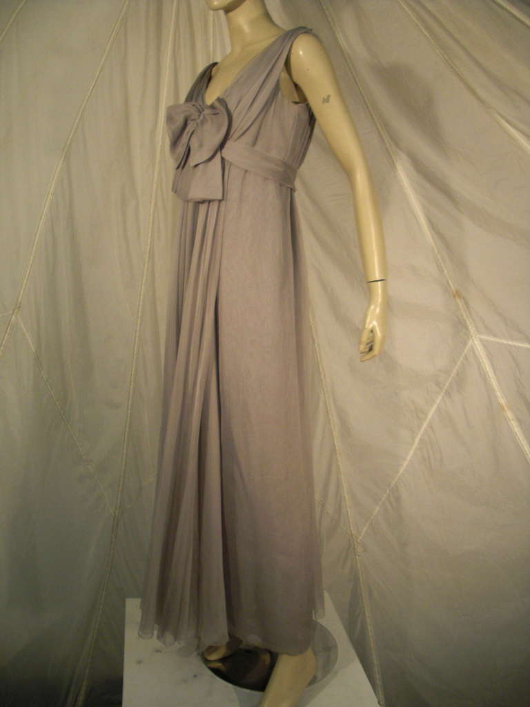 Sarmi 60s Dove Gray Silk Chiffon Goddess Gown 4