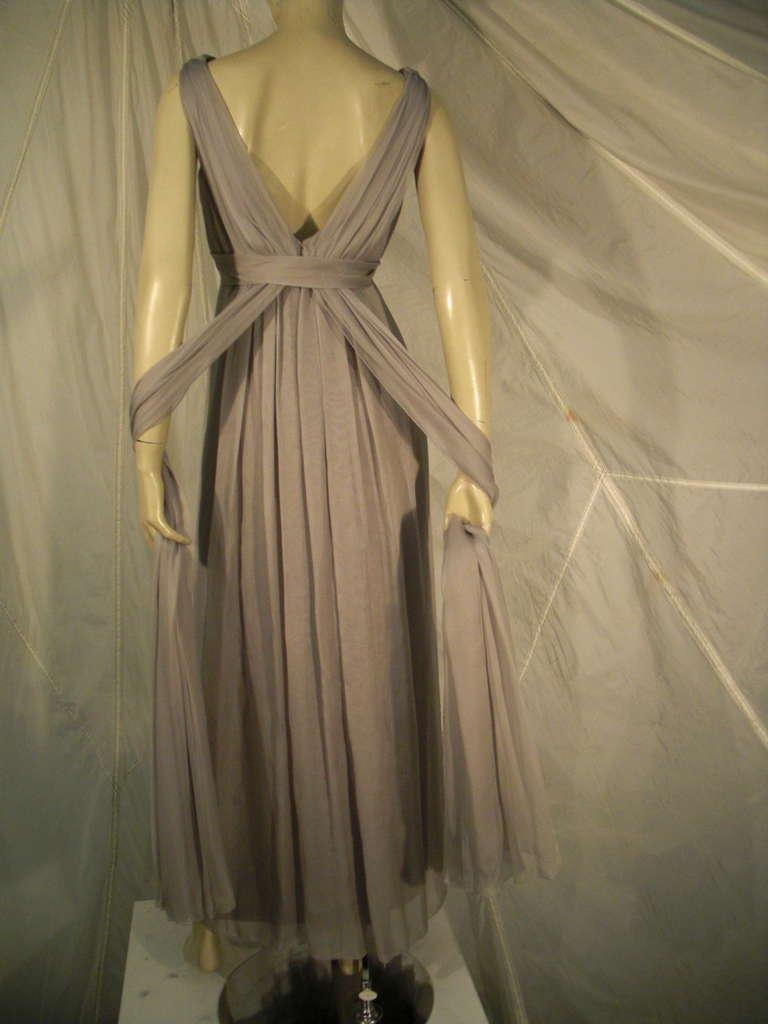 Sarmi 60s Dove Gray Silk Chiffon Goddess Gown 5