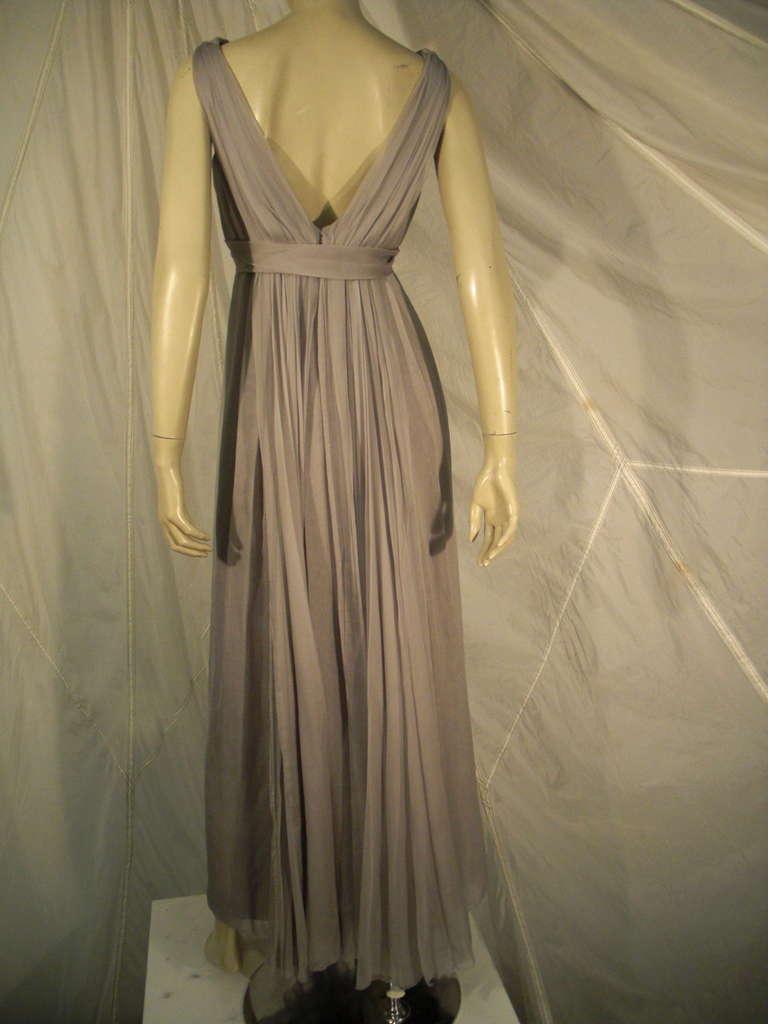 Sarmi 60s Dove Gray Silk Chiffon Goddess Gown 6