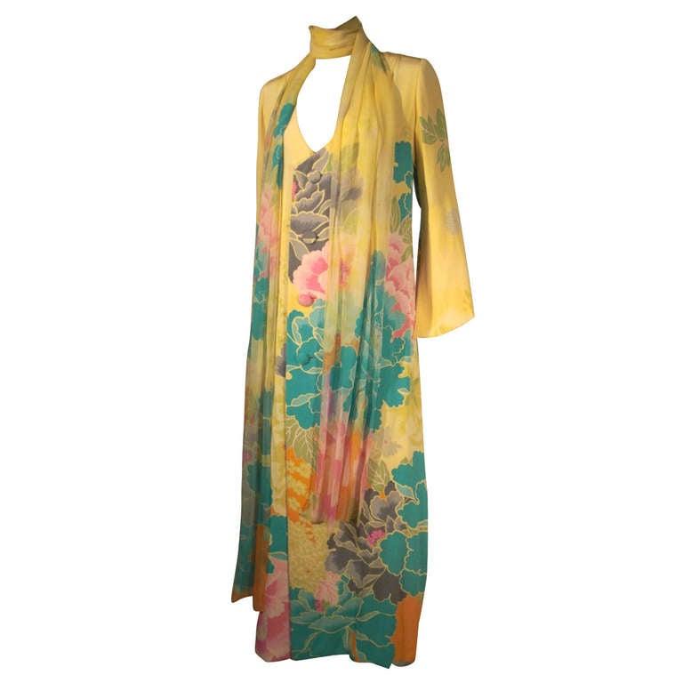 Hanae Mori 70s Couture Kimono Print Gown with Full Length Foulard