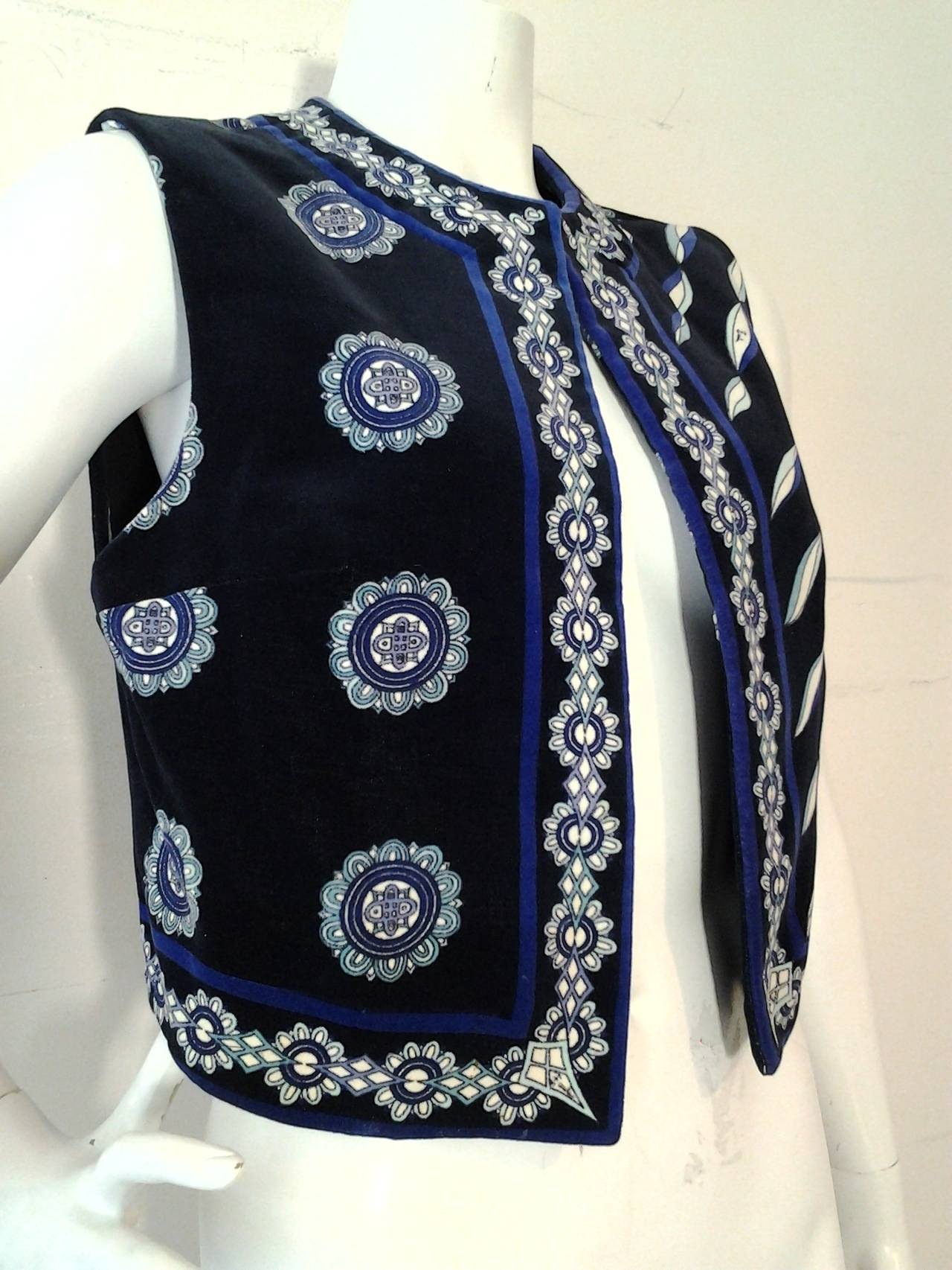 1960s Emilio Pucci Cotton Velveteen Mod Vest In Blues, Black and White 6
