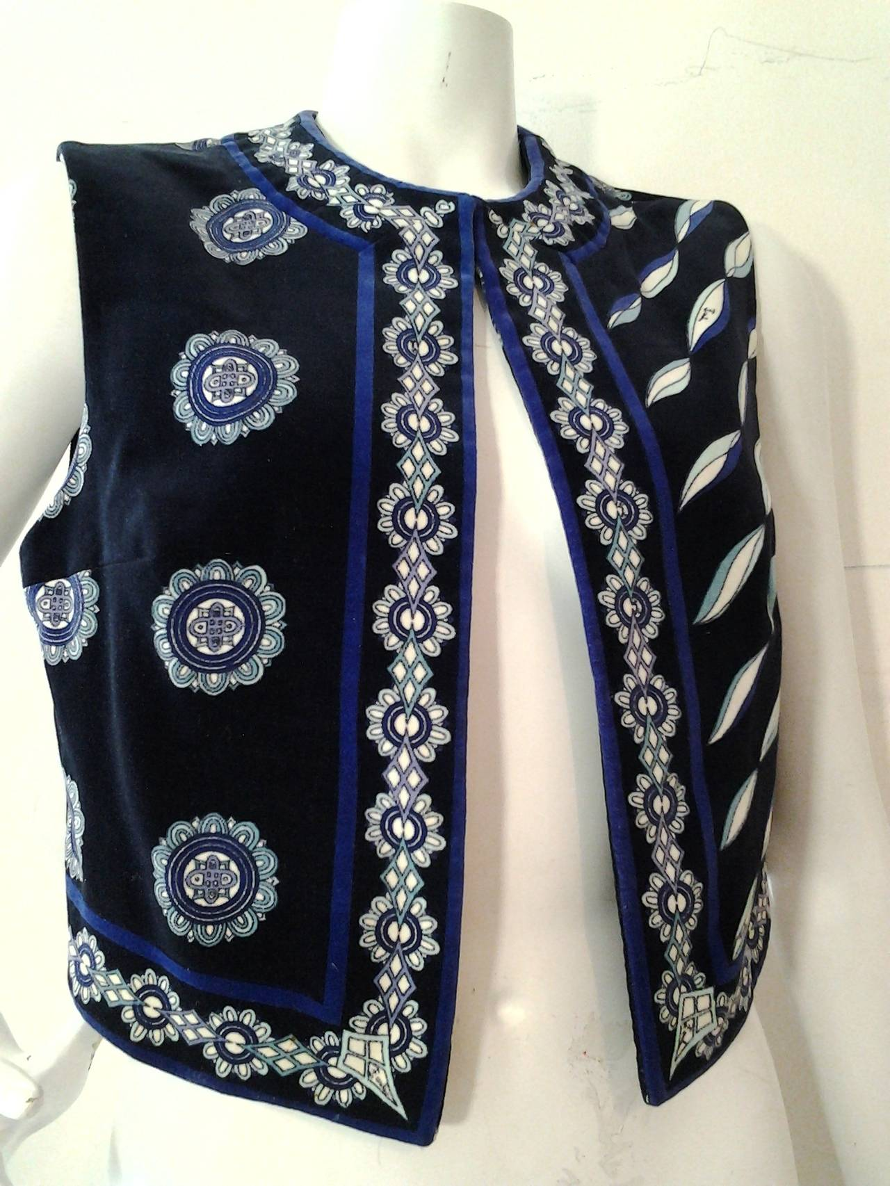 1960s Emilio Pucci Cotton Velveteen Mod Vest In Blues, Black and White 4