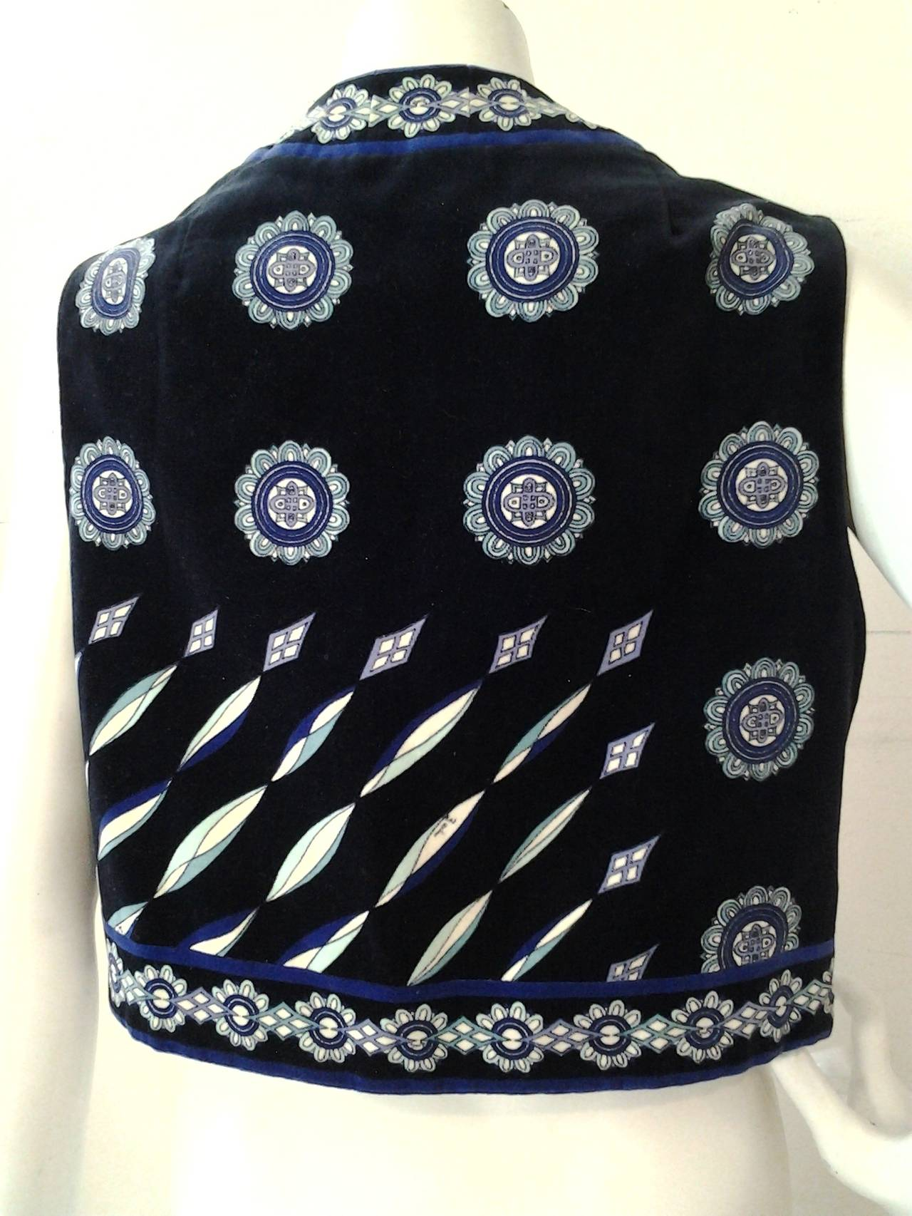 1960s Emilio Pucci Cotton Velveteen Mod Vest In Blues, Black and White 3