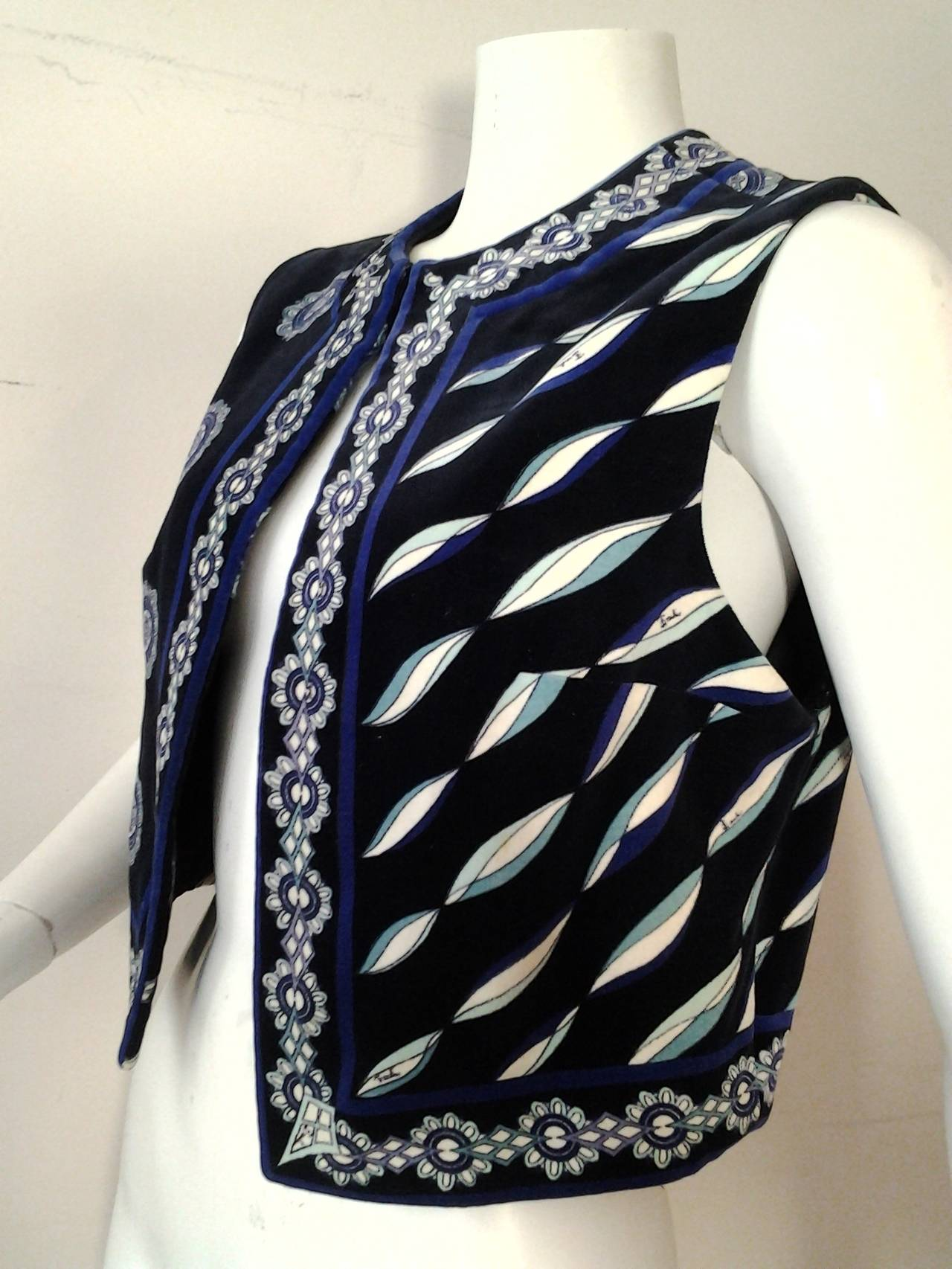 1960s Emilio Pucci Cotton Velveteen Mod Vest In Blues, Black and White 5