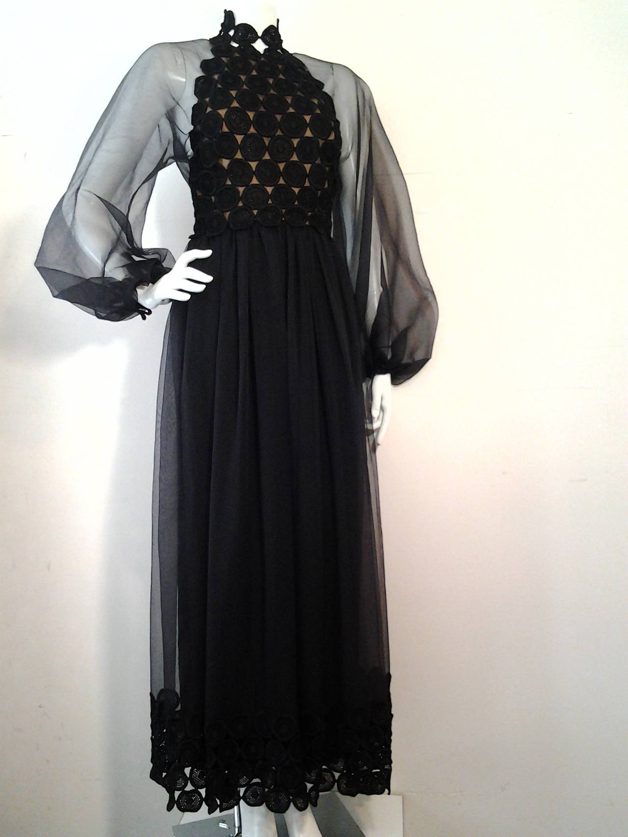 Women's 1970s Werle Hostess Gown in Black Chiffon and Circular Lace For Sale