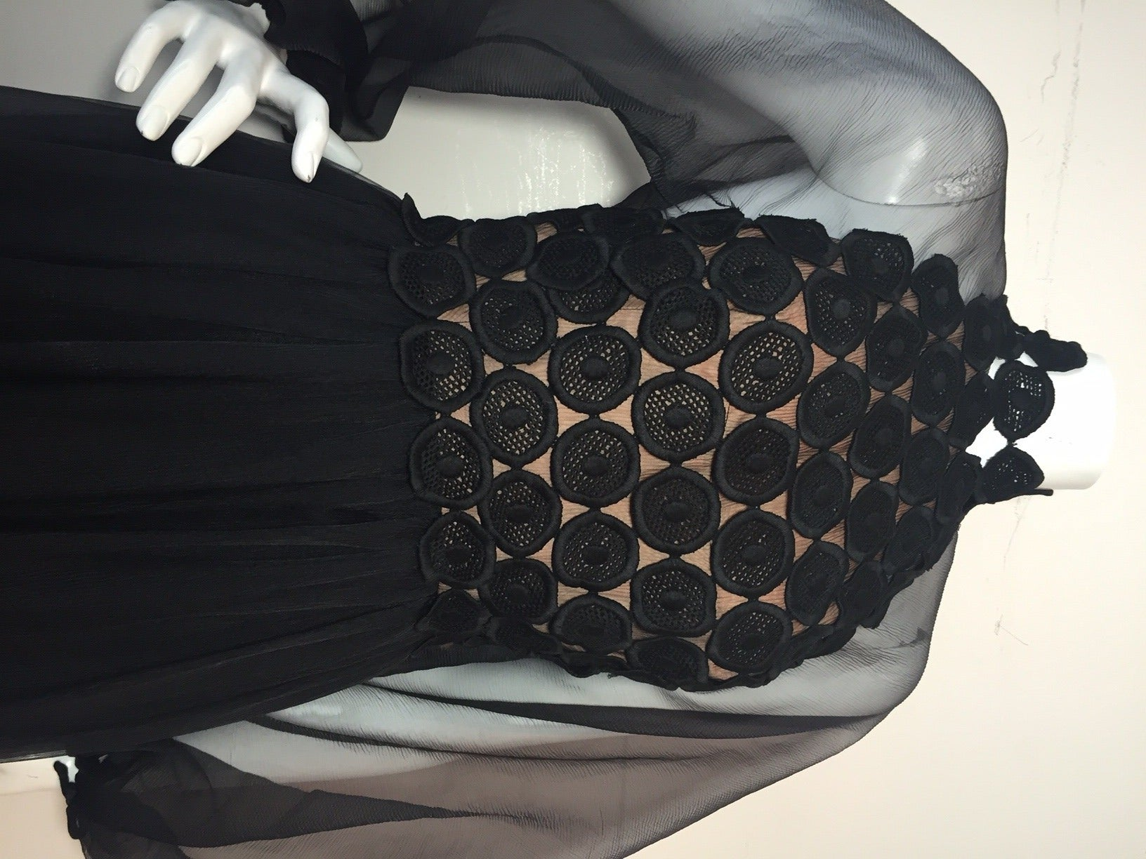 1970s Werle Hostess Gown in Black Chiffon and Circular Lace For Sale 2