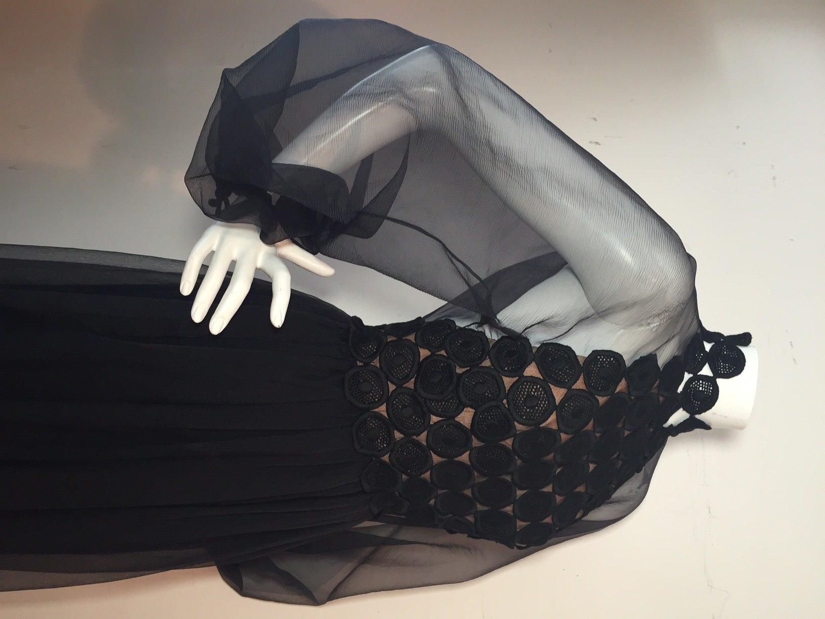 1970s Werle Hostess Gown in Black Chiffon and Circular Lace For Sale 3