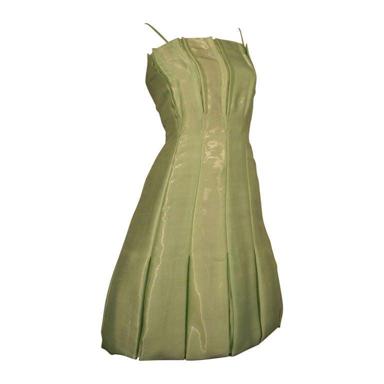 Thierry Mugler Peridot Pleated Bubble Dress