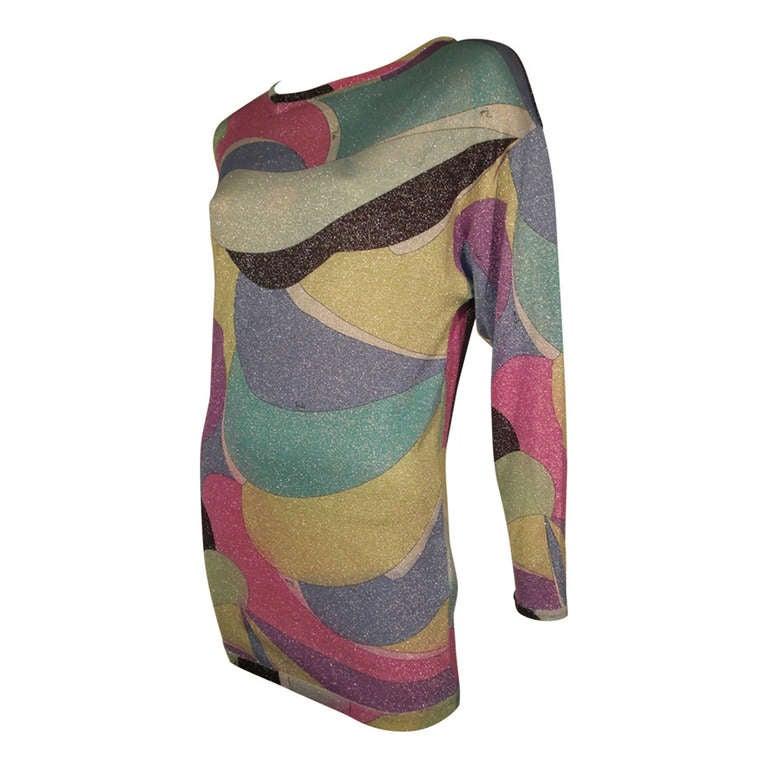 Emilio Pucci Lurex Knit Mini Dress with Low Scoop Back 1