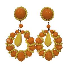 1960s Large Beaded Hoop Earrings in Lemon Yellow and Orange Acrylic