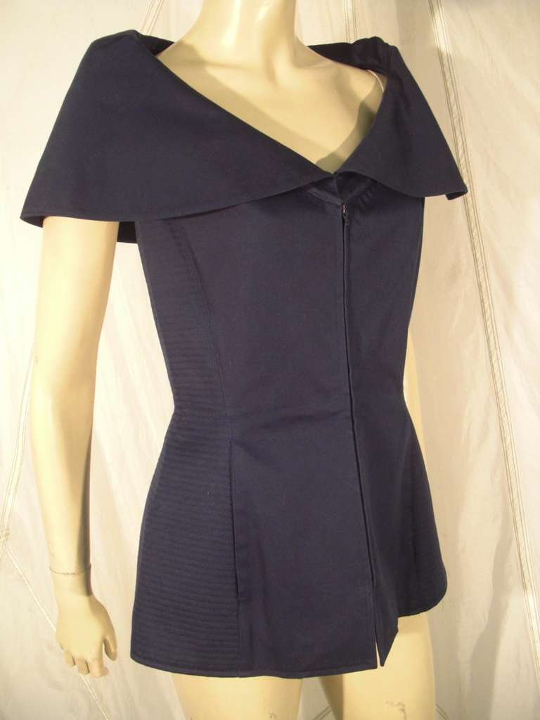 """Black 1980s Claude Montana Navy Blue Quilted Cotton """"Corset"""" Vest For Sale"""