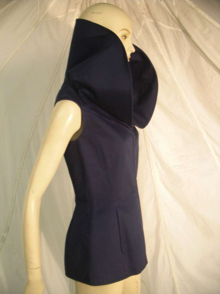 "Women's 1980s Claude Montana Navy Blue Quilted Cotton ""Corset"" Vest For Sale"