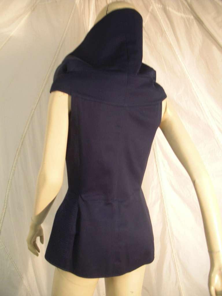 "1980s Claude Montana Navy Blue Quilted Cotton ""Corset"" Vest For Sale 1"
