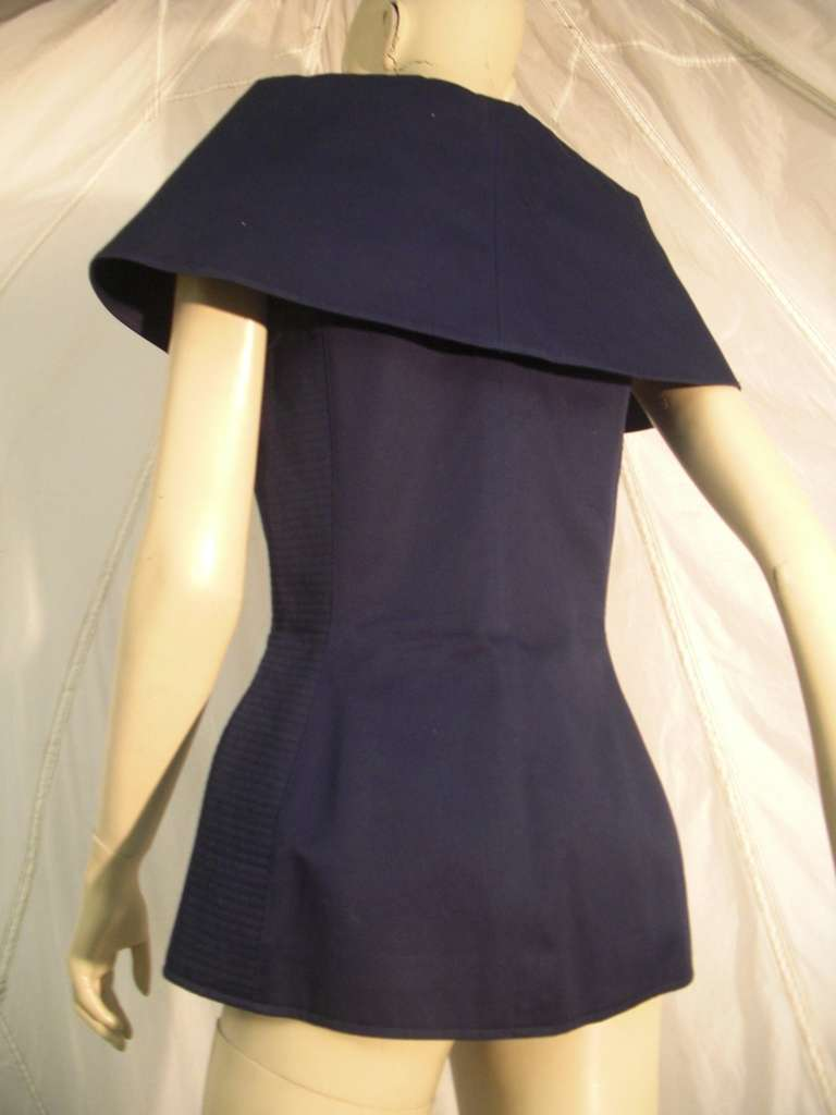 "1980s Claude Montana Navy Blue Quilted Cotton ""Corset"" Vest For Sale 2"