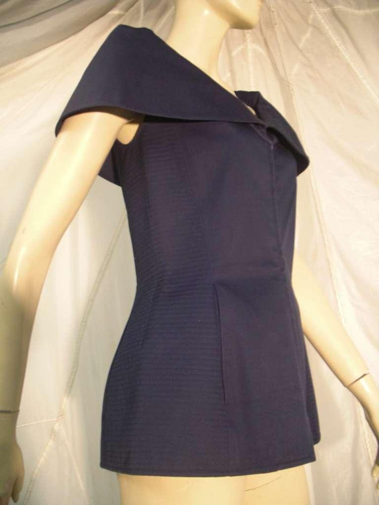 "1980s Claude Montana Navy Blue Quilted Cotton ""Corset"" Vest For Sale 3"
