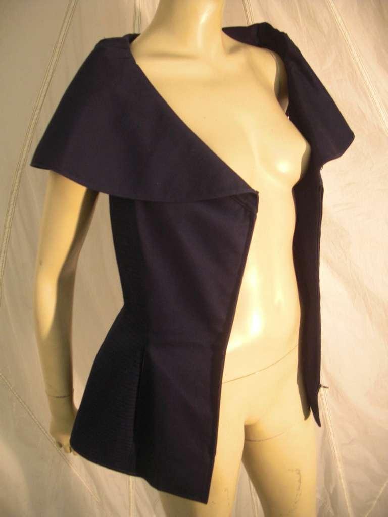 "1980s Claude Montana Navy Blue Quilted Cotton ""Corset"" Vest For Sale 4"