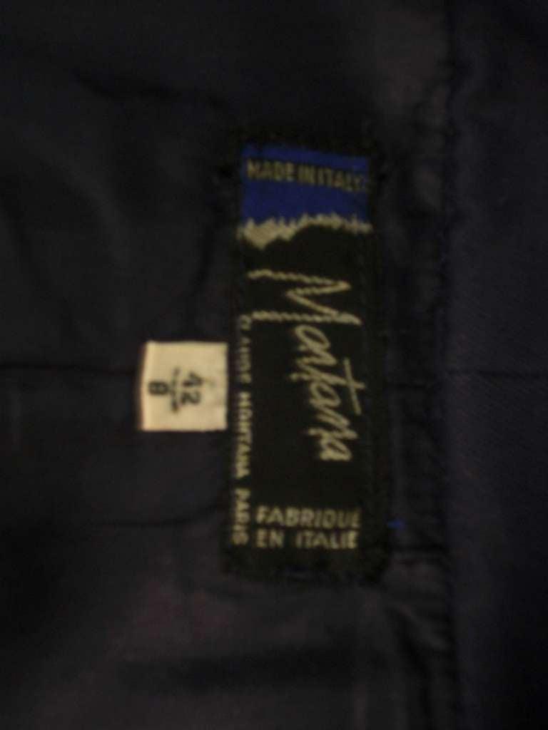 "1980s Claude Montana Navy Blue Quilted Cotton ""Corset"" Vest For Sale 5"