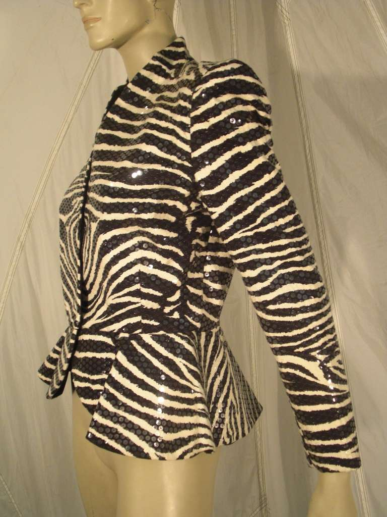 1980s Travilla Sequined Zebra Print Peplum Evening Jacket In Excellent Condition For Sale In San Francisco, CA