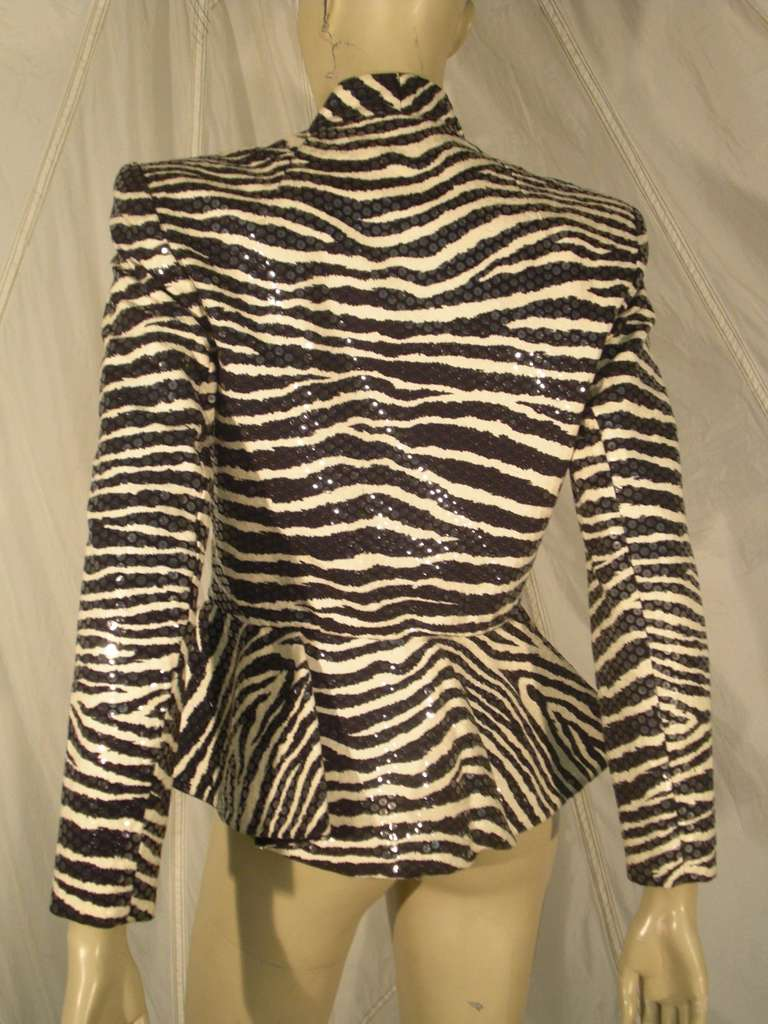 Women's 1980s Travilla Sequined Zebra Print Peplum Evening Jacket For Sale