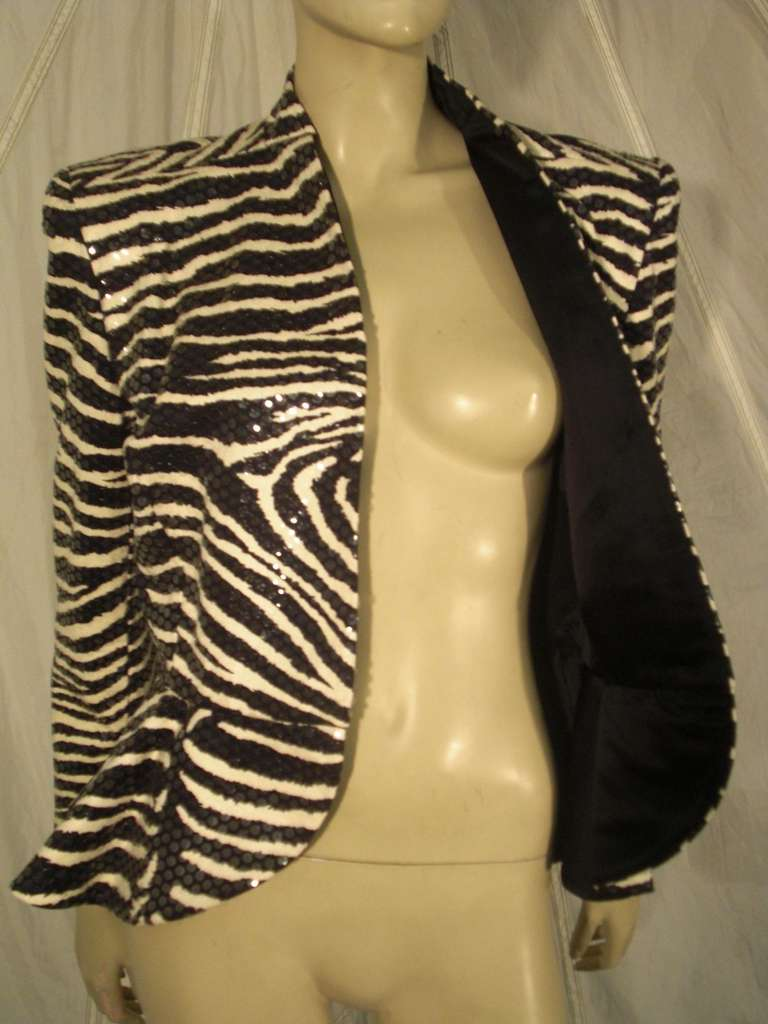 1980s Travilla Sequined Zebra Print Peplum Evening Jacket For Sale 1