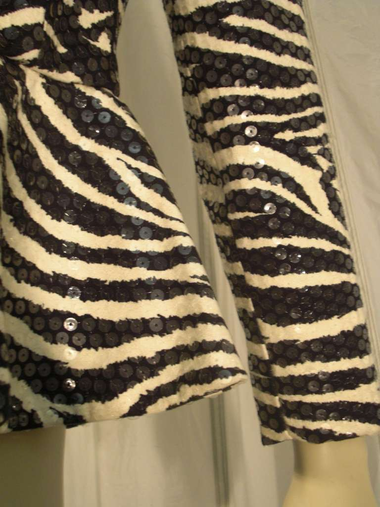 1980s Travilla Sequined Zebra Print Peplum Evening Jacket For Sale 2