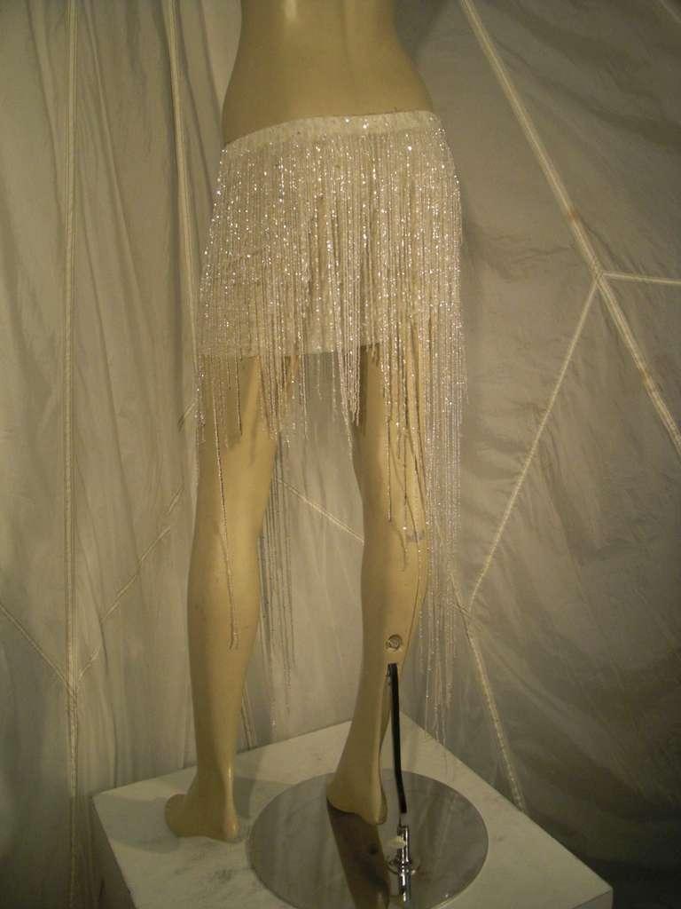 Runway Sample Crystal Beaded Fringe Ultra-Mini Skirt 10