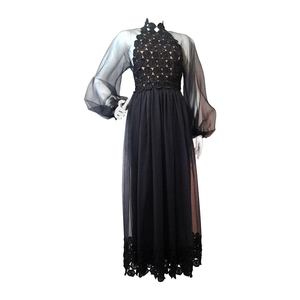 1970s Werle Hostess Gown in Black Chiffon and Circular Lace