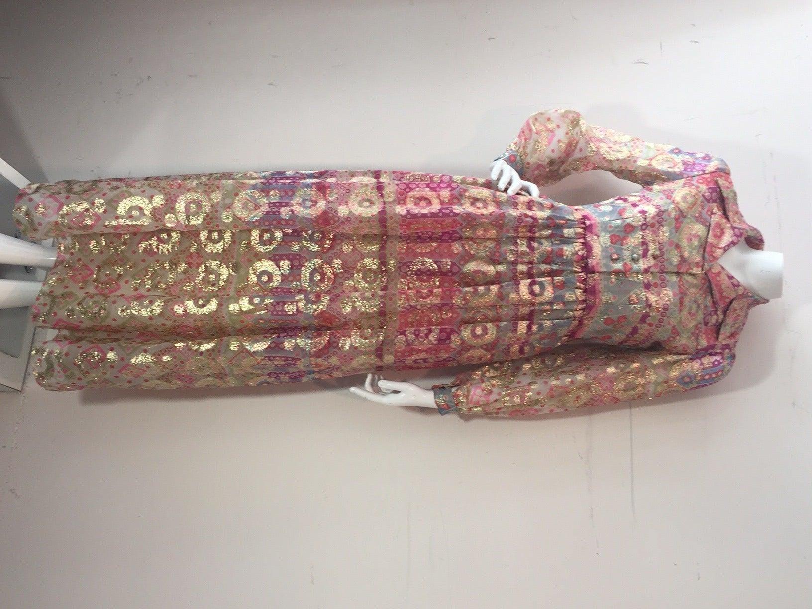 1960s Oscar de La Renta Lame Chiffon Hostess Gown 4