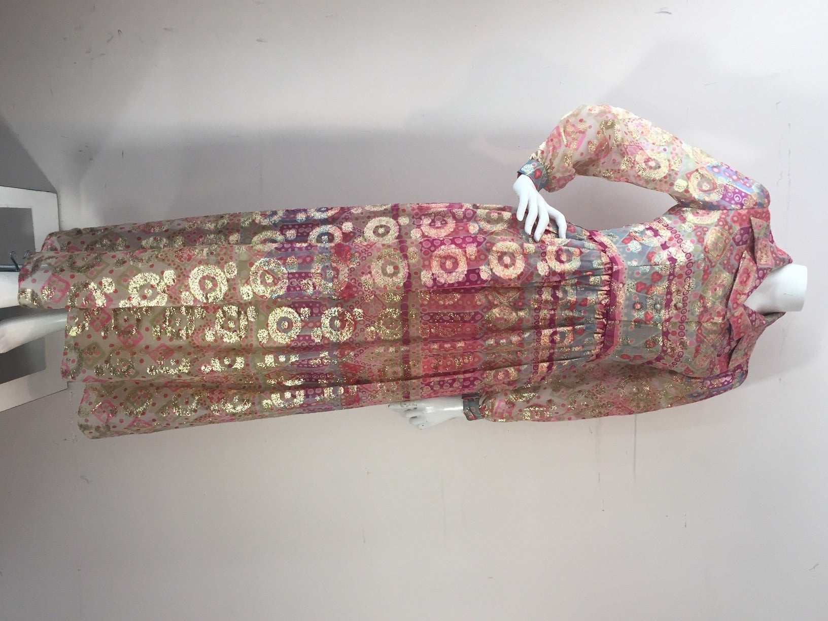 1960s Oscar de La Renta Lame Chiffon Hostess Gown 3