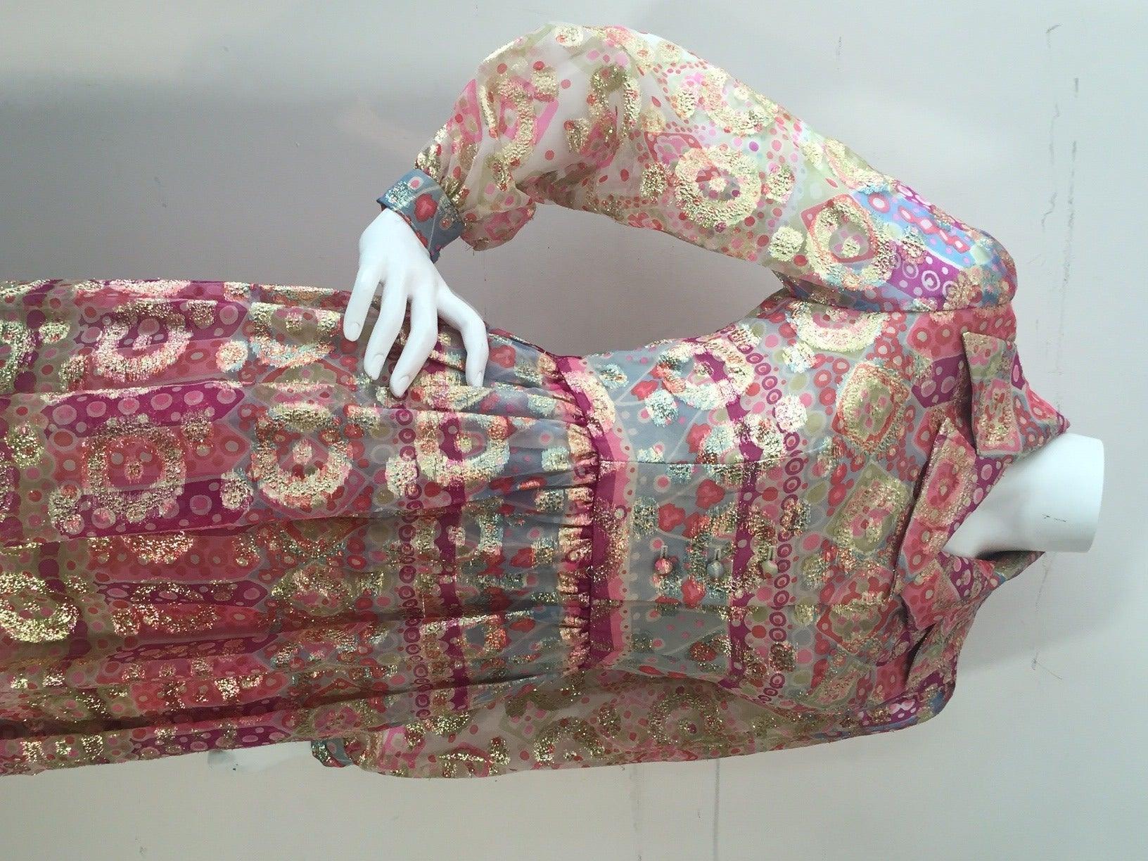 1960s Oscar de La Renta Lame Chiffon Hostess Gown 6