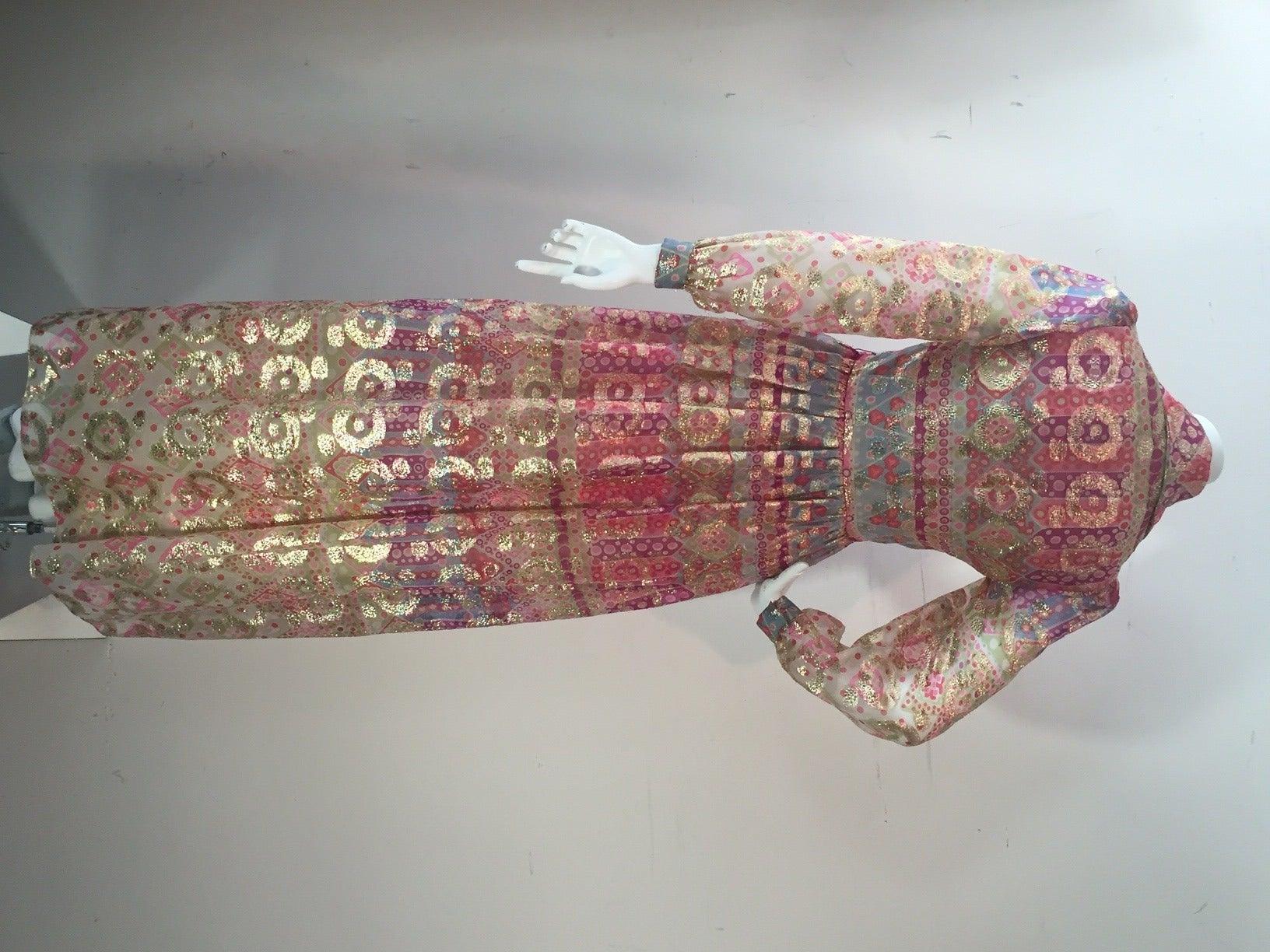 1960s Oscar de La Renta Lame Chiffon Hostess Gown 2