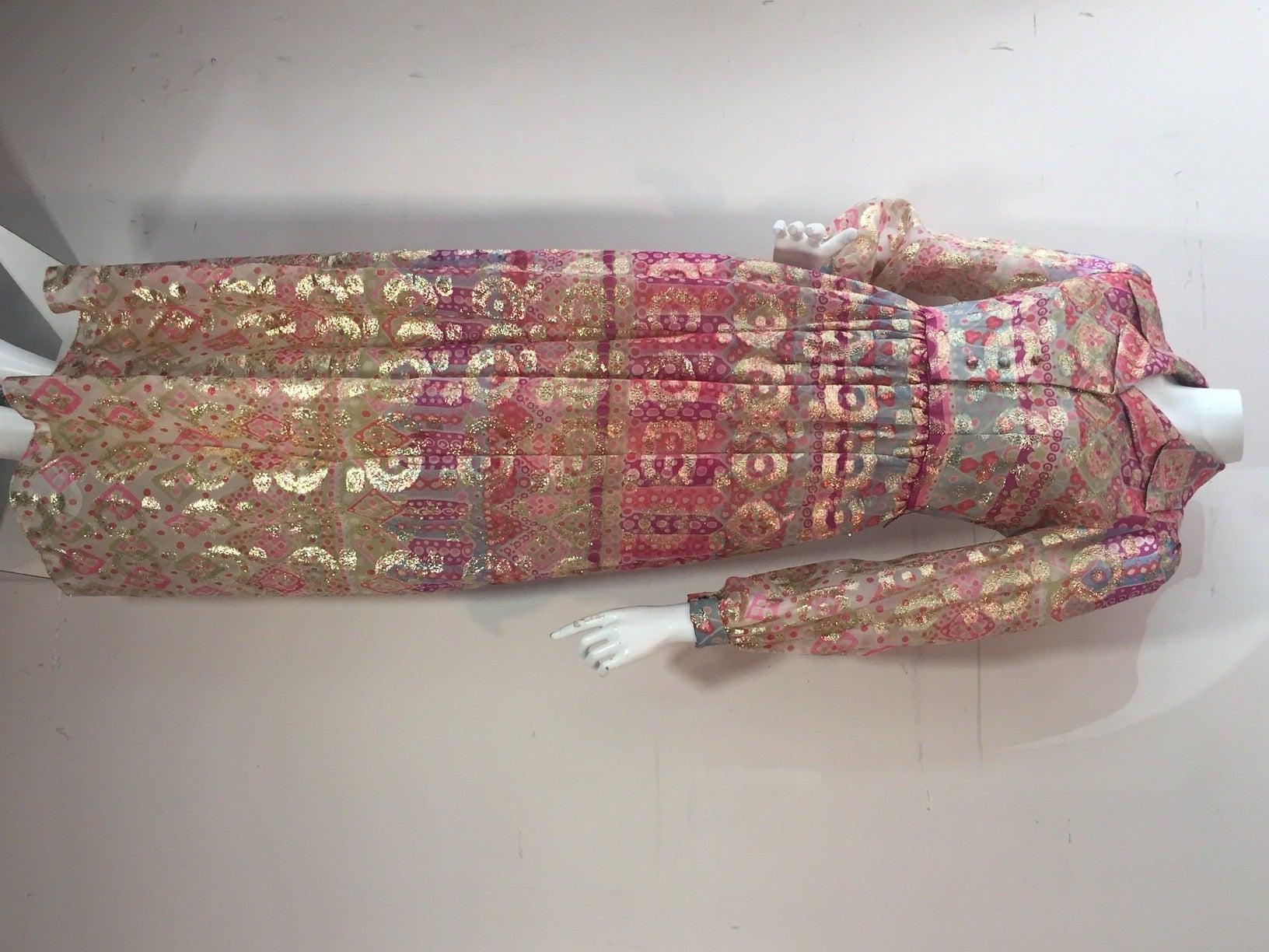 1960s Oscar de La Renta Lame Chiffon Hostess Gown 5