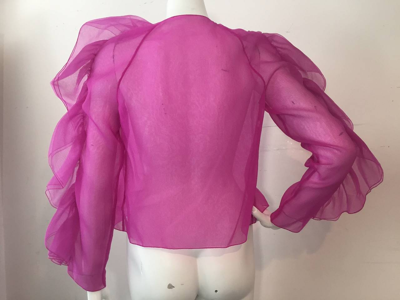 1980s Fuchsia Organza Ruffled-Sleeve Blouse In Excellent Condition For Sale In San Francisco, CA