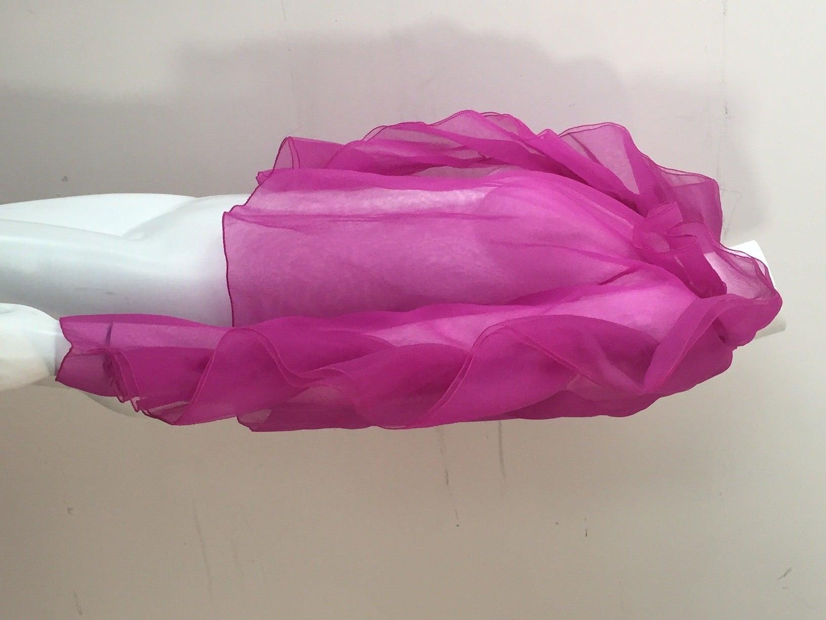 1980s Fuchsia Organza Ruffled-Sleeve Blouse 2