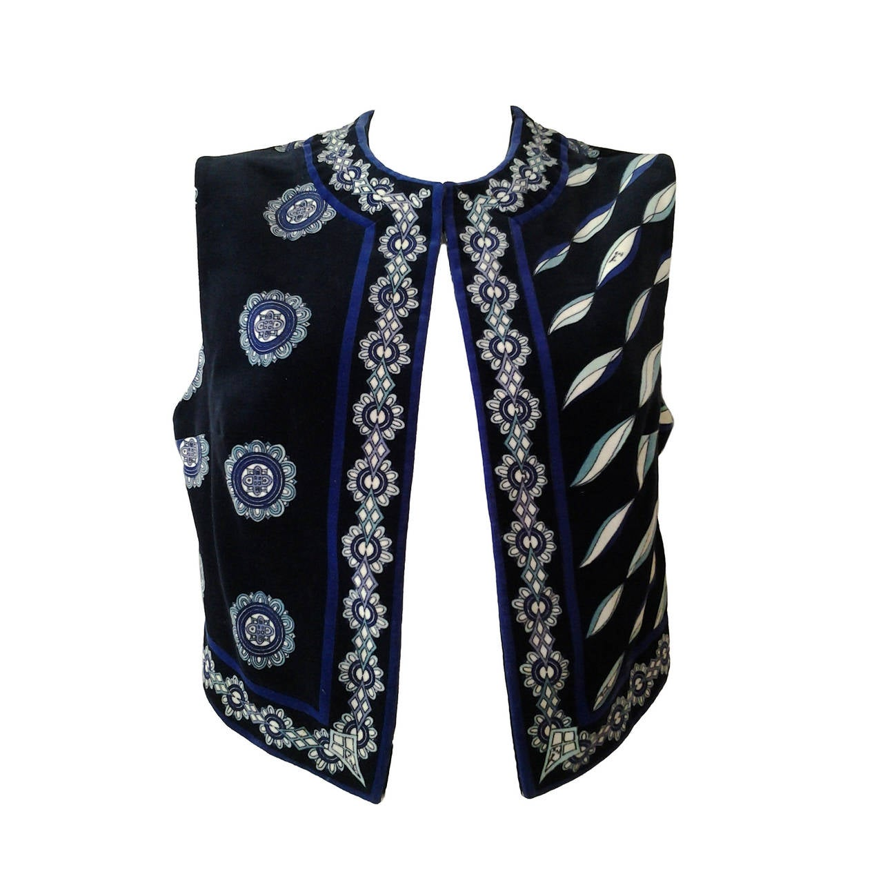1960s Emilio Pucci Cotton Velveteen Mod Vest In Blues, Black and White 1