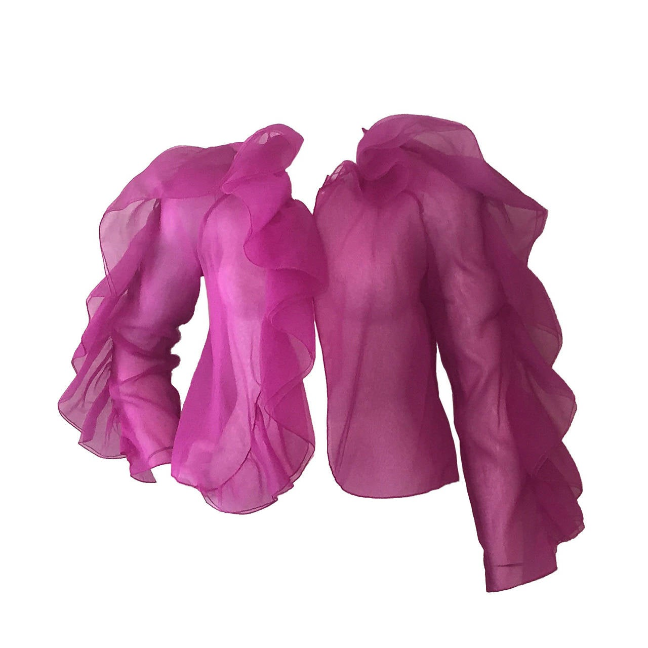 1980s Fuchsia Organza Ruffled-Sleeve Blouse For Sale