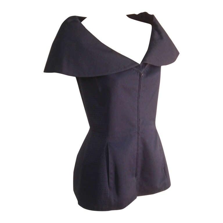 "1980s Claude Montana Navy Blue Quilted Cotton ""Corset"" Vest For Sale"