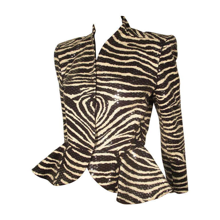 1980s Travilla Sequined Zebra Print Peplum Evening Jacket For Sale