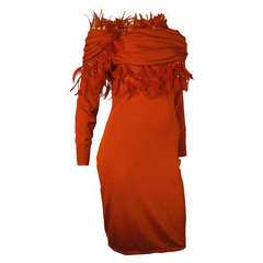 1980s Gianni Versace Slinky Red Knit Dress with Extravagant Feather Fringe