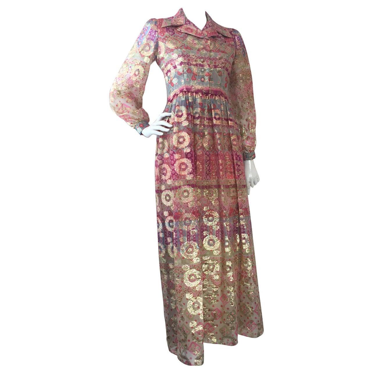 1960s Oscar de La Renta Lame Chiffon Hostess Gown 1